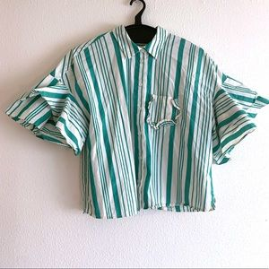 A New Day Green White Striped Ruffle Sleeve Top